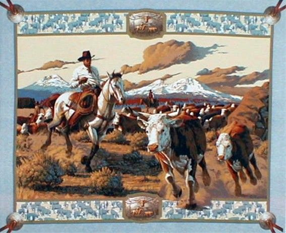 horse pillow panel | Cattle Drive Cowboy Cotton Fabric Panel by ... : horse fabric for quilting - Adamdwight.com