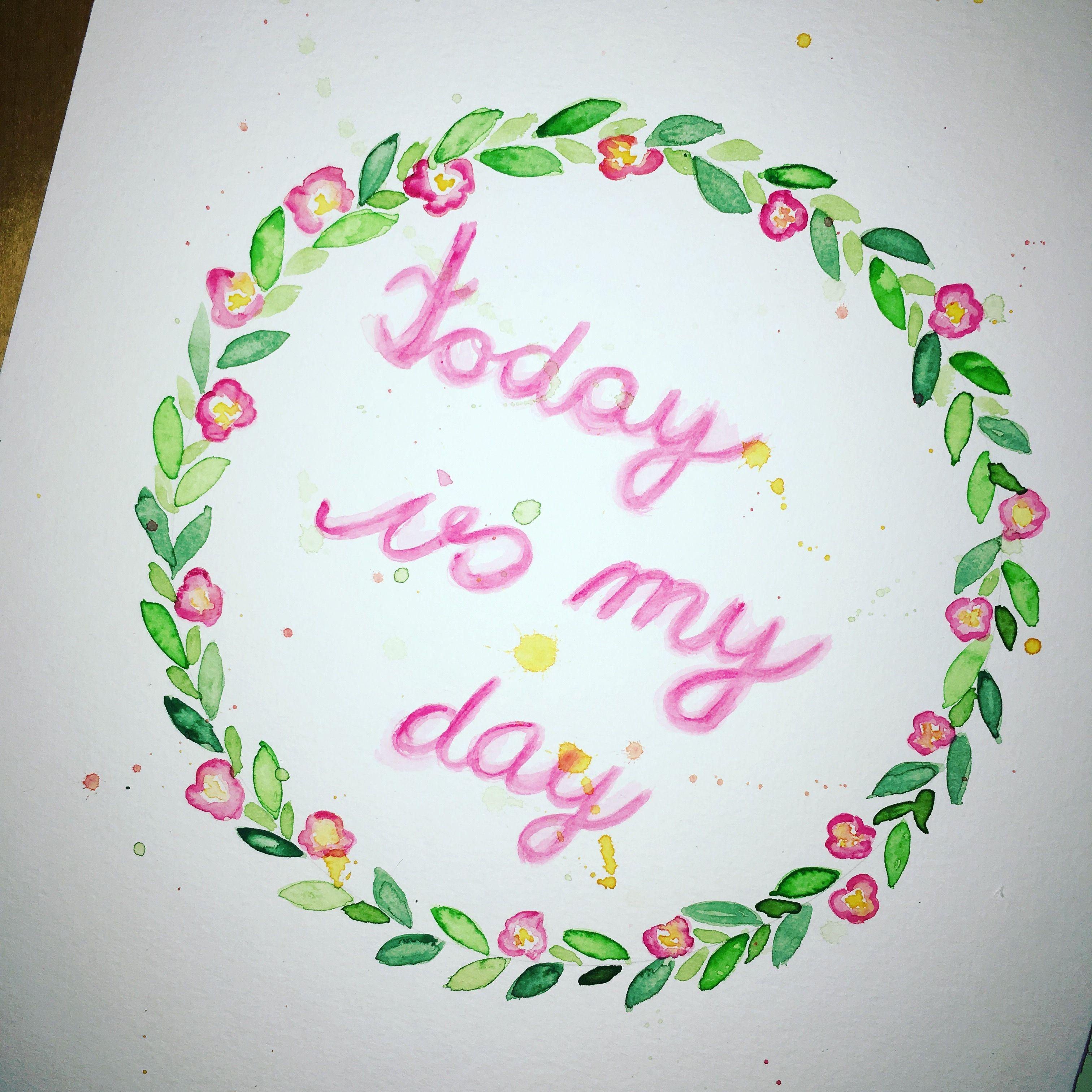 Selbstliebe Geburtstag Spruch Aquarell Malen Zeichnen Bunt Rosa