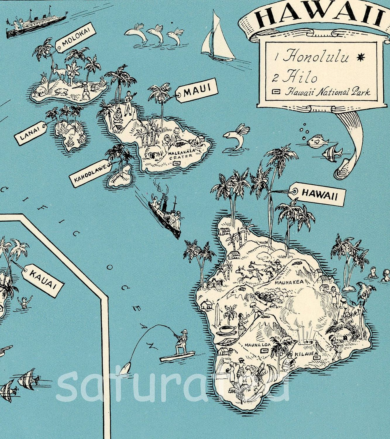 Hawaii Map Vintage - High Res DIGITAL IMAGE of a 1930s Vintage Picture Map - Aqua Turquoise - Charming & Fun