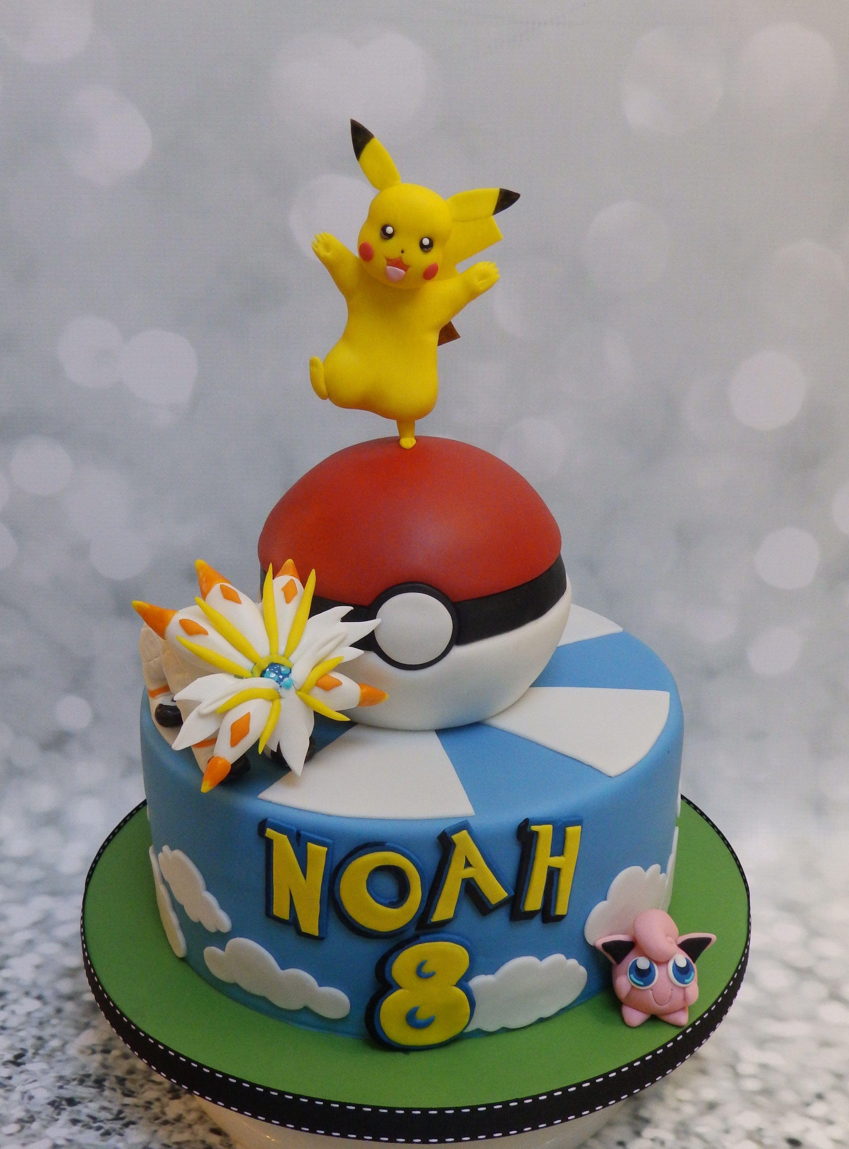 Wondrous Pokemon Birthday Cake Pikachu Solgaleo Jigglypuff Pokemon Ball Funny Birthday Cards Online Eattedamsfinfo