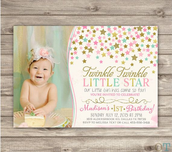 Twinkle Twinkle Little Star Birthday Invitations Mint Photo Shabby - First birthday invitations girl pink and gold