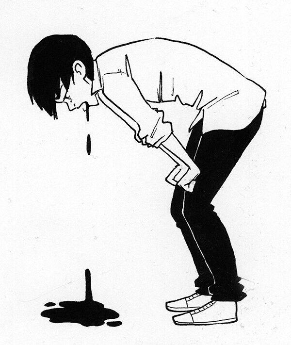 Guro art boy vomit
