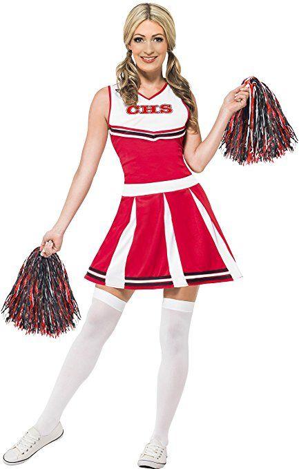 Smiffys Damen Cheerleader Kostum Kleid Und Pompons Grosse S 40065 Cheerleader Kostum Weibliche Kostume Disney Kostum