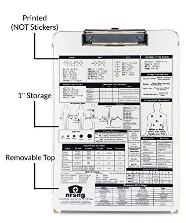 Nursing Clipboard With Storage And Printed Reference White
