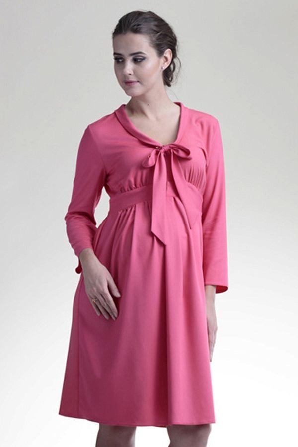 dc01fa2683f Růžové letní těhotenské šaty s mašlí