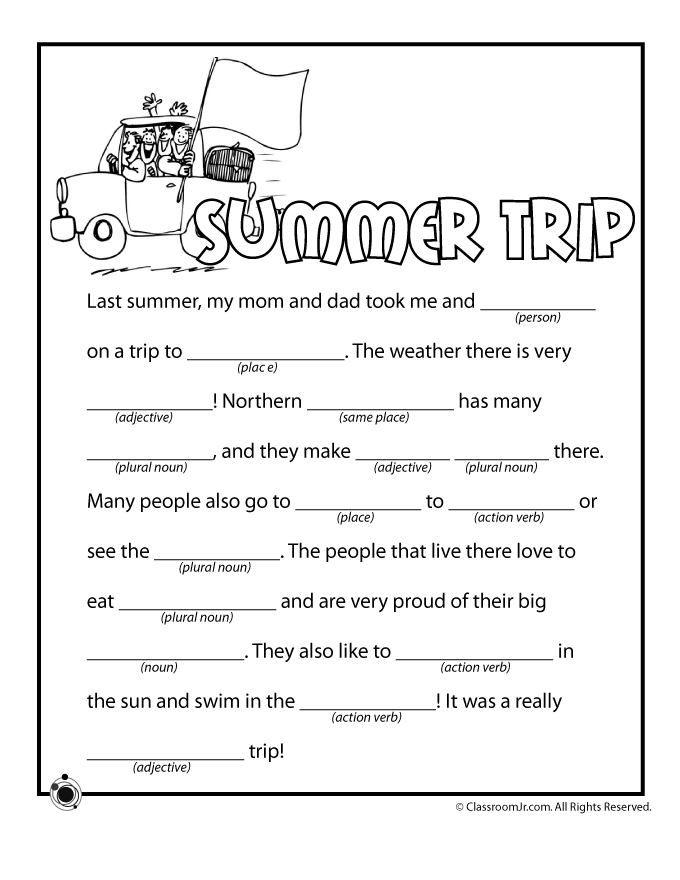 picture regarding Printable Funny Mad Libs named Summer months Nuts Libs Street Journeys Summertime worksheets, Insane libs