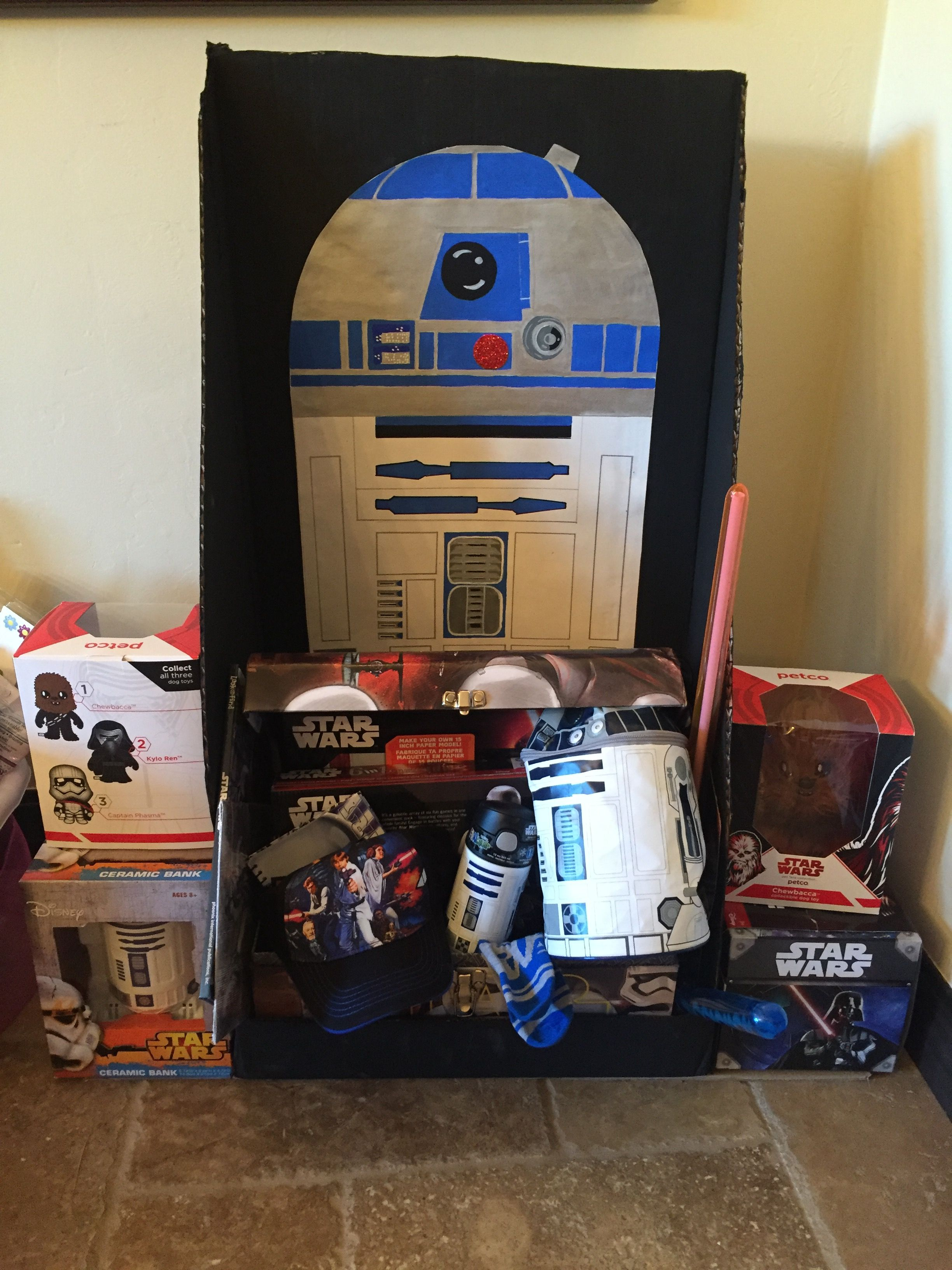 For a school auction basket  star wars basket idea  hand painted R2 ... 4bf4db5f2983