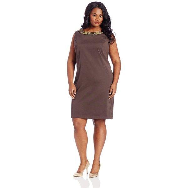 Agb Womens Plus Size Beaded Sheath Dress 27 Via Polyvore