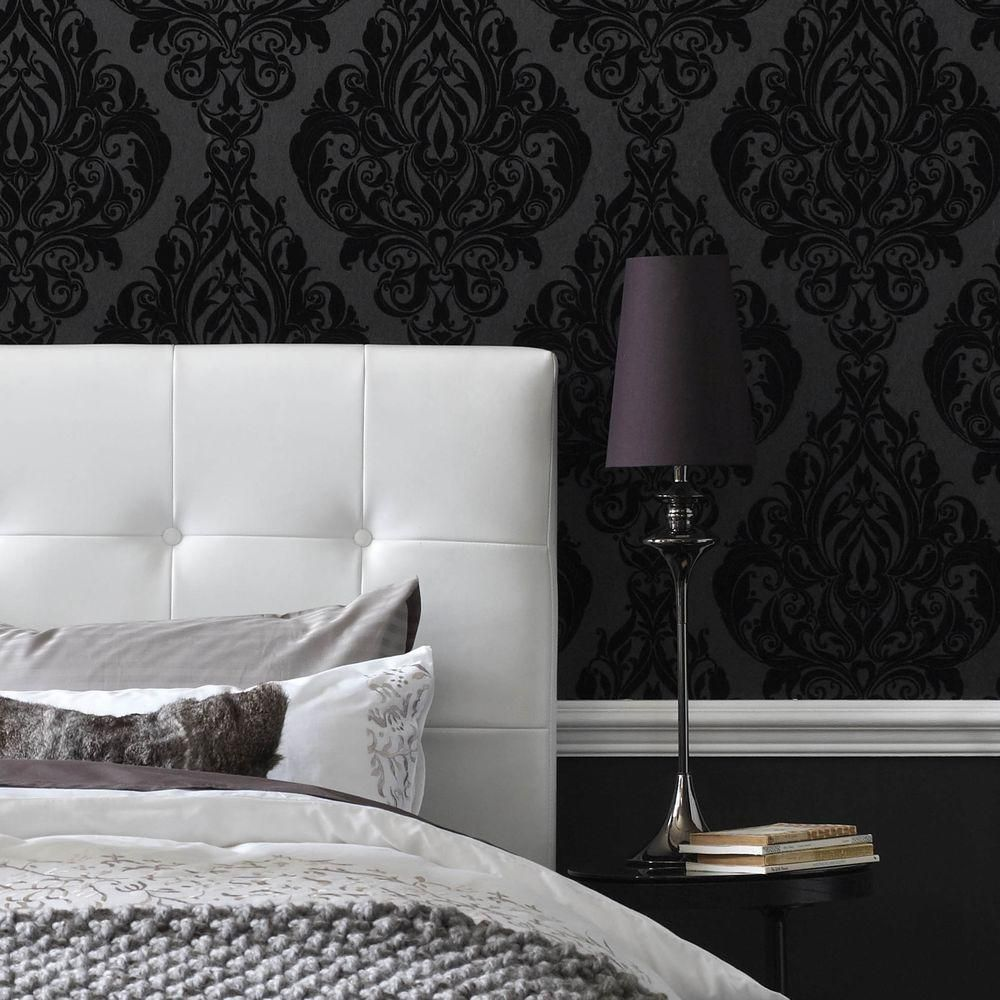 Wallpaper Design For Bedroom: Graham & Brown 56 Sq. Ft. Vintage Flock Black Wallpaper-30