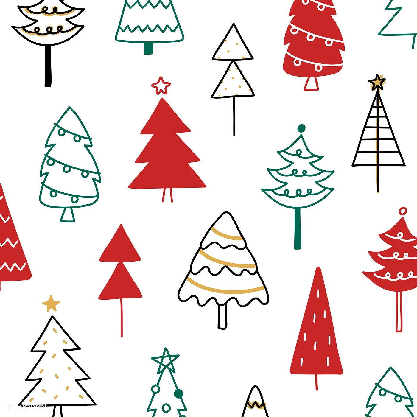 Download Premium Vector Of Christmas Pine Tree Pattern Background Drawing Tree Doodle Christmas Tree Pattern Tree Drawing