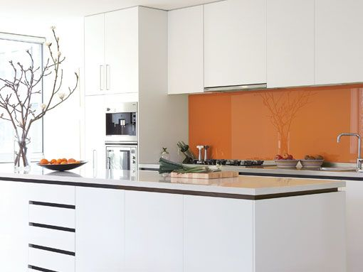 Orange Splashback Office Kitchen Pinterest Kitchens And House