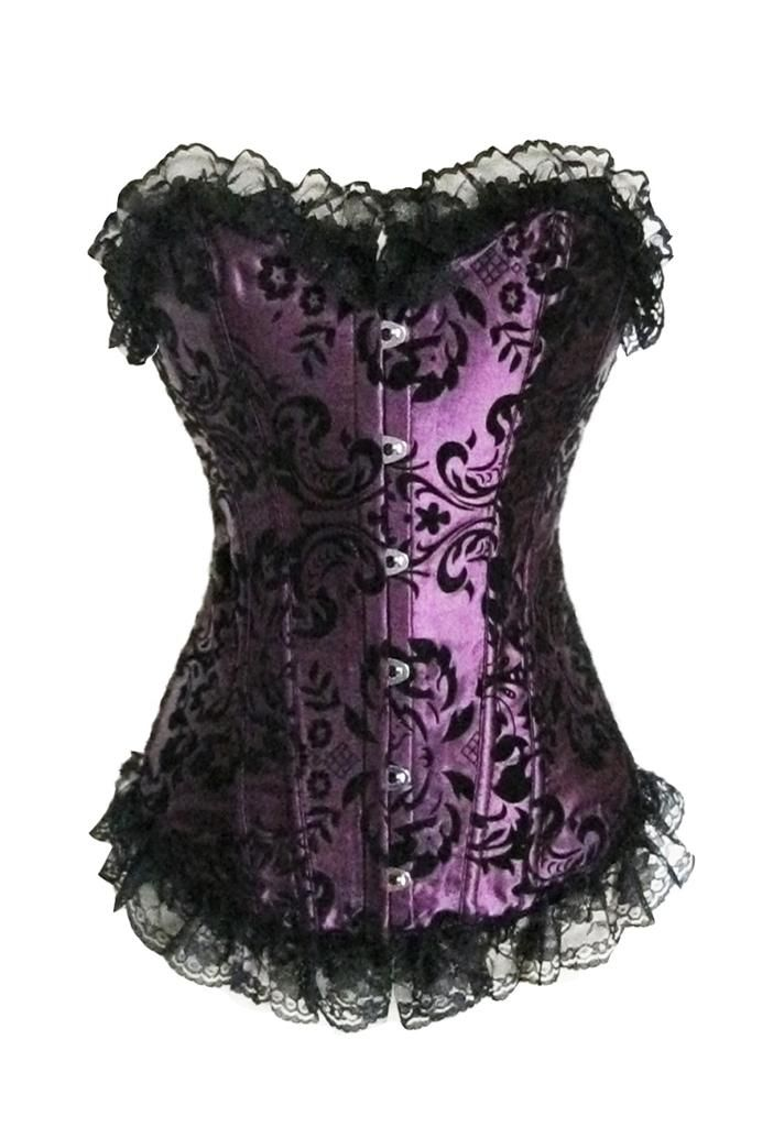 Sexy new Purple A813 boned Lace up Satin Corset Bustier Top S M L XL ...