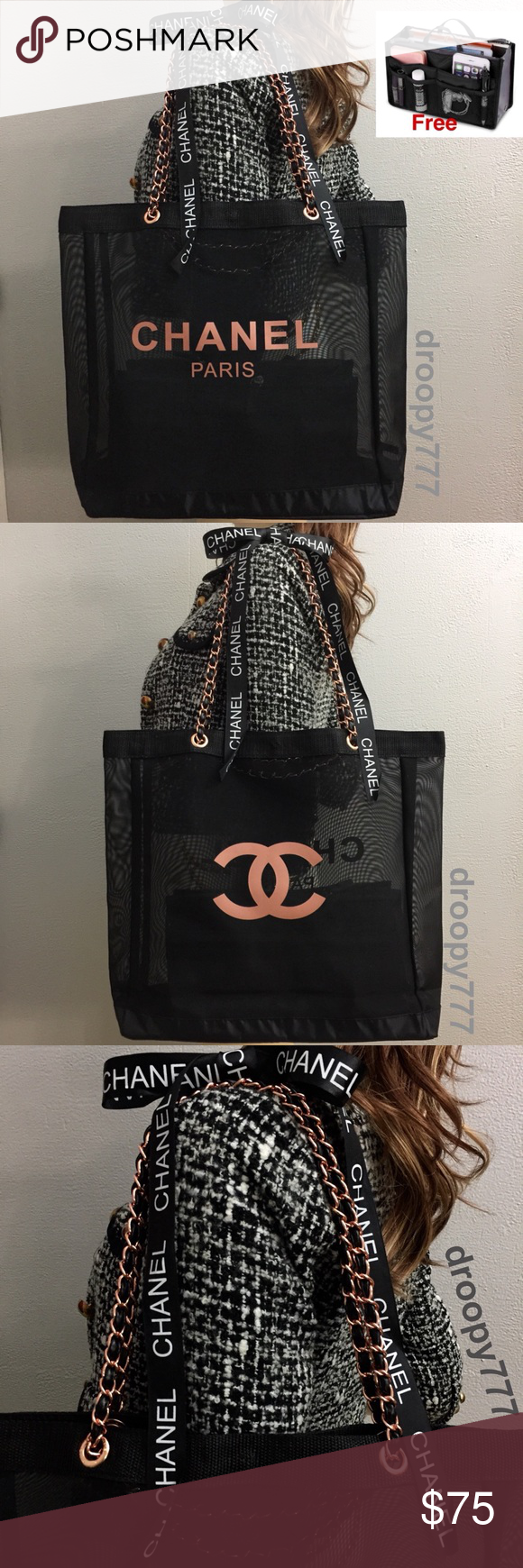 32a0c429aa37 FREE organizer   Rose Gold beauté chanel black . Chanel VIP Tote ...