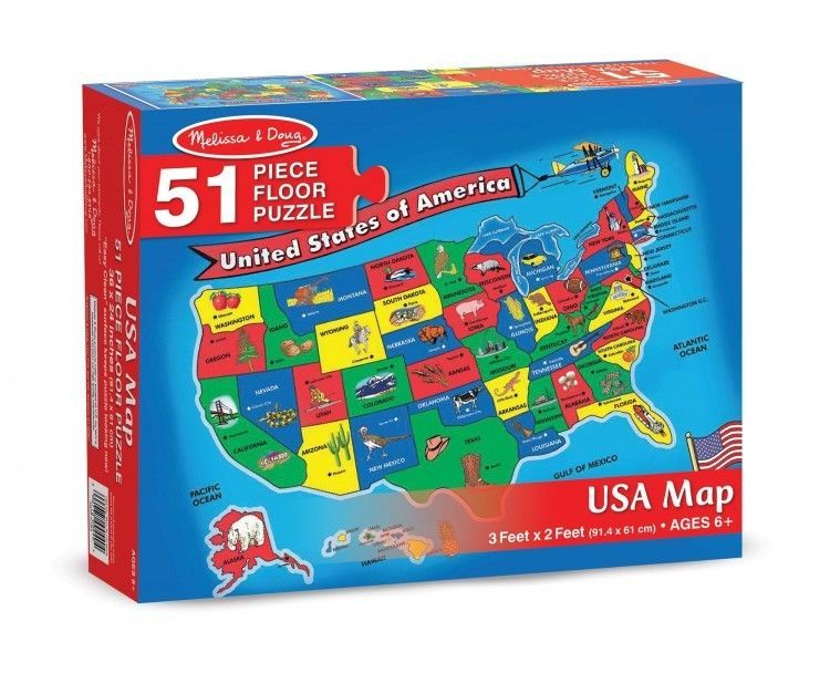 USA Map Jigsaw Puzzle Sturdy Geography Educational Toy Gift For Kids