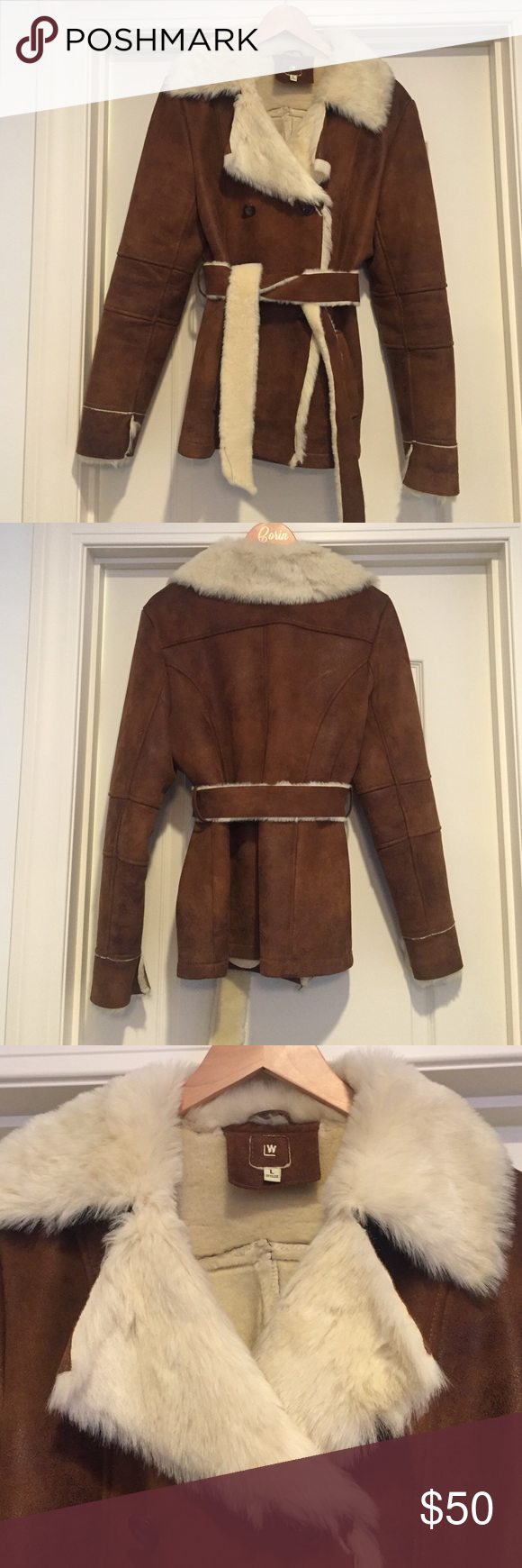 Suede/leather style fur lined coat Brown fur lined jacket
