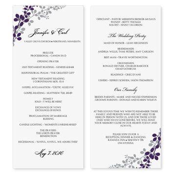 Wedding Program Template - Exquisite Vines (Eggplant  Silver) Tea