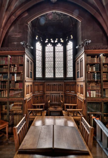 John Rylands Library, Manchester. Definitely the most beautiful library I've ever visited; a cathedral to books.