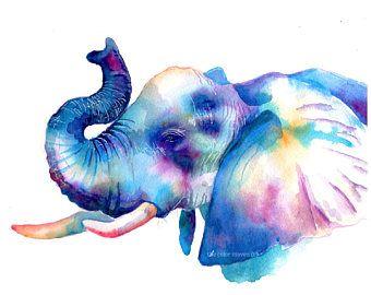 Colorful Giraffe Watercolor Print Wild Animals Wall