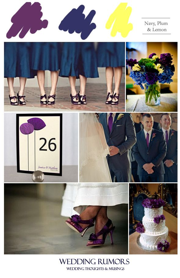 Blue Purple Wedding Bridesmaid With Orange Flowers Inspiration Board Navy Plum Lemon