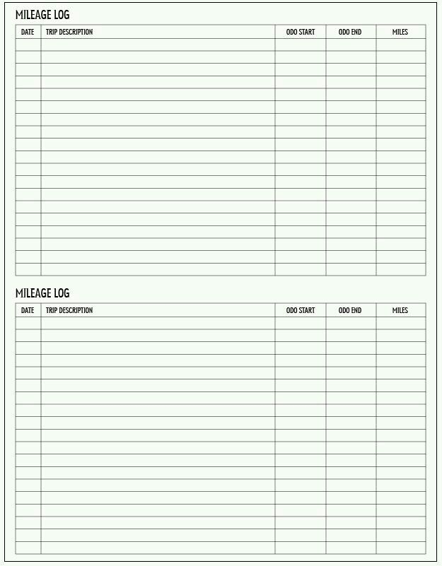 Mileage Log  Printables    Logs