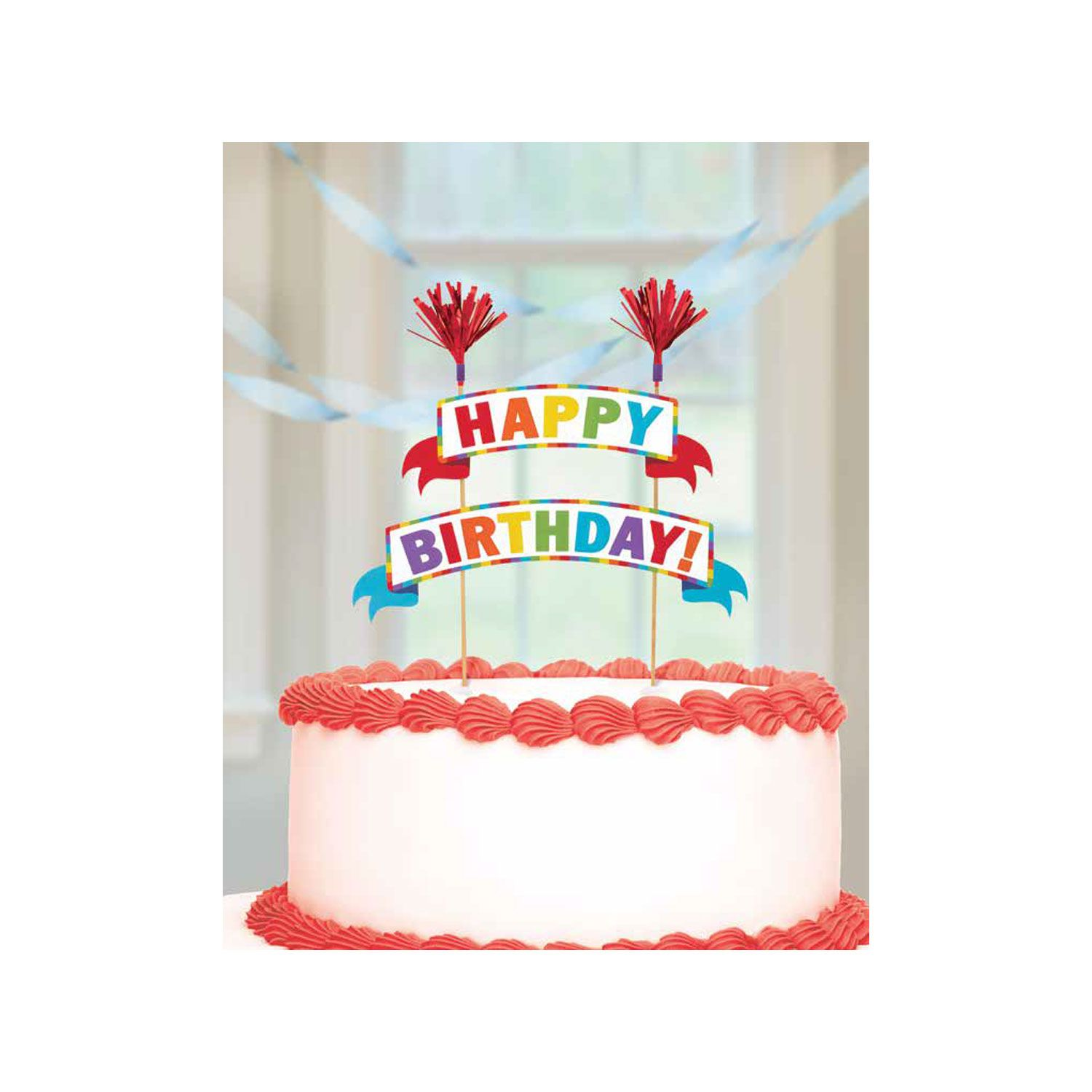 Rainbow Happy Birthday Banner Cake Topper