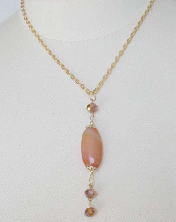 Orange Quartz Necklace,Tumbled Stone Necklace,Swarovski Crystal Necklace,Gold Chain Tumbled Stone Necklace,Gold Chain Orange Quartz Necklace