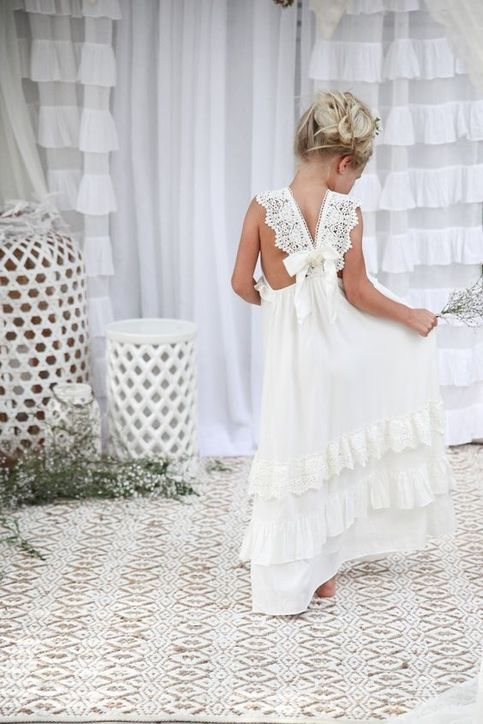 6430669ff6 Adorable A-line White Long Boho Flower Girl Dress