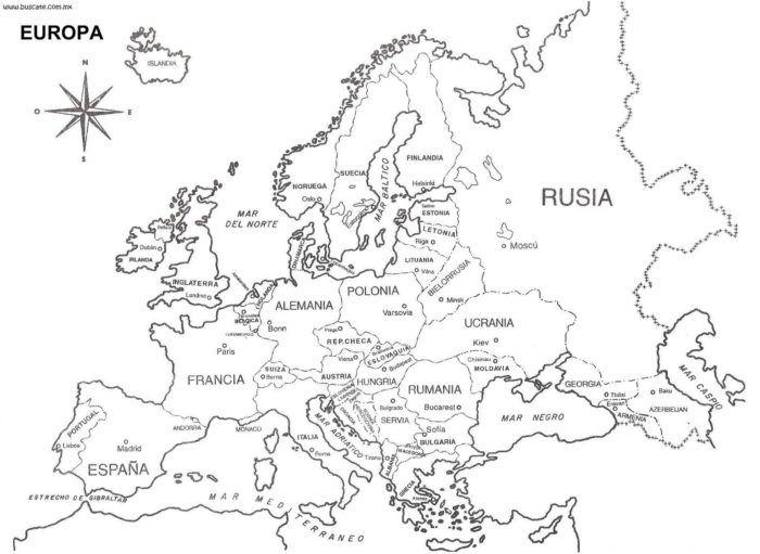 mapa da europa para pintar Mapa Da Europa Para Pintar | Backgraund | Pinterest | Map, Spanish  mapa da europa para pintar