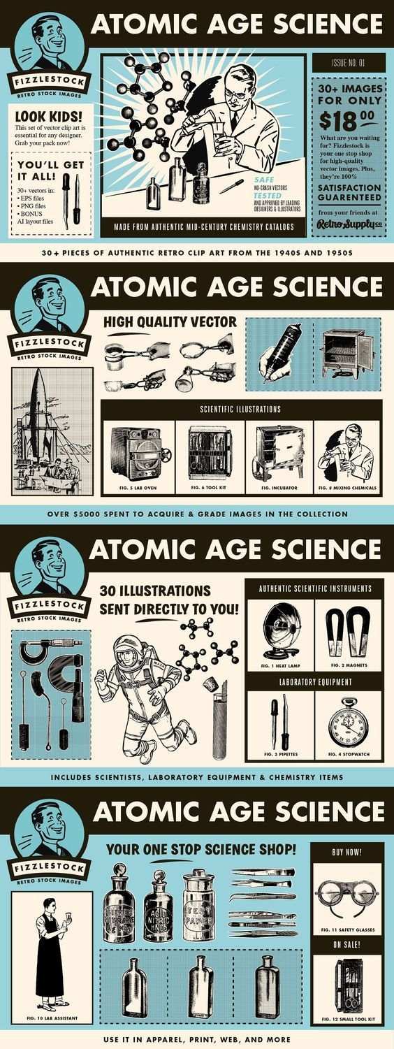 Atomic Age Science | Clip Art Bundle - 36 Pieces of Authentic Atomic Age Themed Clip Art from the 1940s and 1950s  Add the perfect retro touch to your next science themed design project. This collection of 36 pieces of classic retro clip art includes scientists, chemicals, beakers, flasks, microscopes, molecules and more. By RetroSupply Co. $13 #affiliatelink