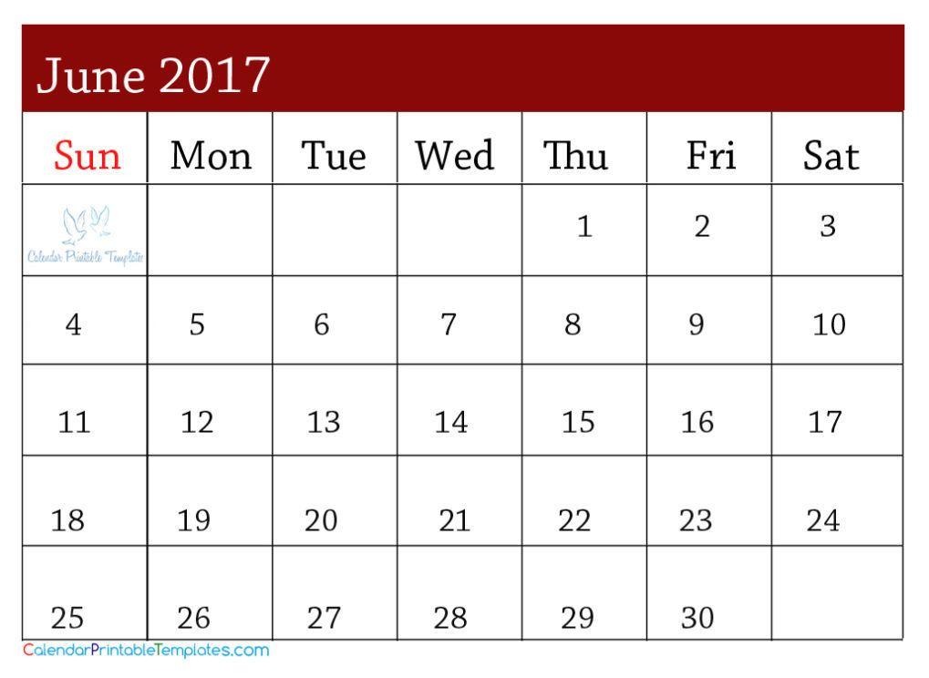 2017 June Calendar http\/\/wwwcalendarprintabletemplates\/june - calendar template pdf