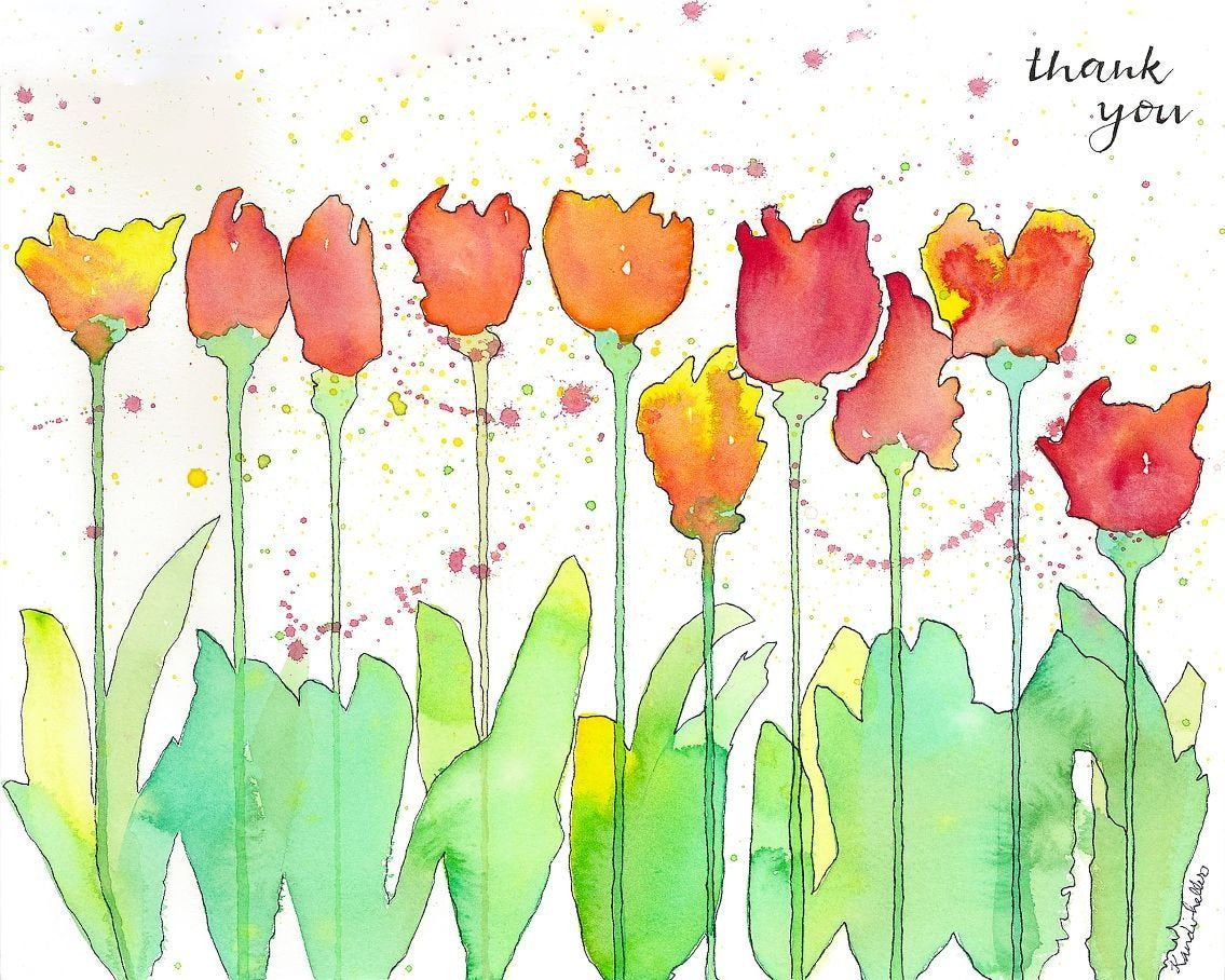 Cards Large Or Small Cards Of Drippy Tulips Thank You Printed
