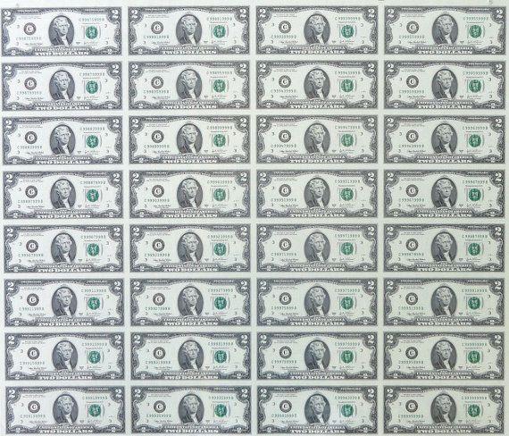 Real Uncut 2 Dollar Bill Currency Sheet 32 Bills 64 by