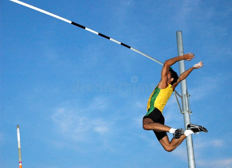 Pole Vaulting Pole Vaulter In Flying Action Ad Vaulting Pole Vaulter Action Flying Ad Pole Vault Stock Images Free Vaulting