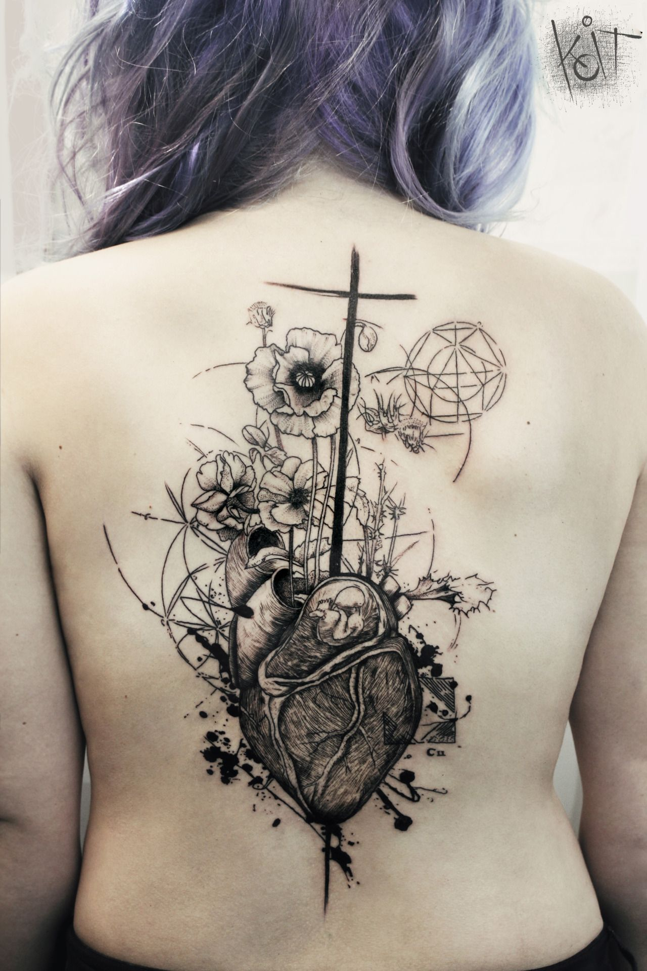 Koit tattoo artist from berlin travelling heart and for Tattoo hair line
