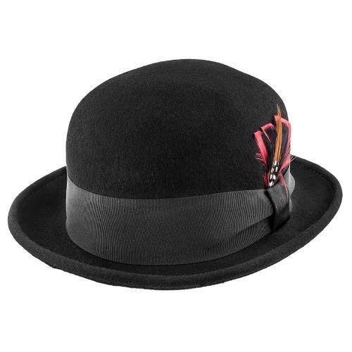 53f41877dd5a9 Bowling - Brooklyn Black Soft Wool Felt Bowler Hat - BKN1407 ...