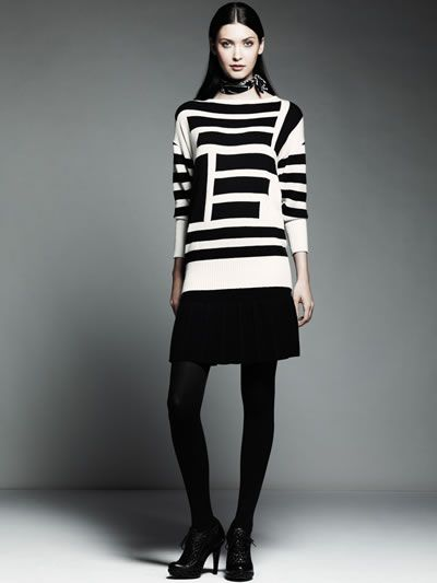 Catherine Malandrino for DesigNation asymmetrical striped pullover sweater $68 Sizes: xs-xl pearl with noir intarsia, lac with pearl intarsia Month available: october