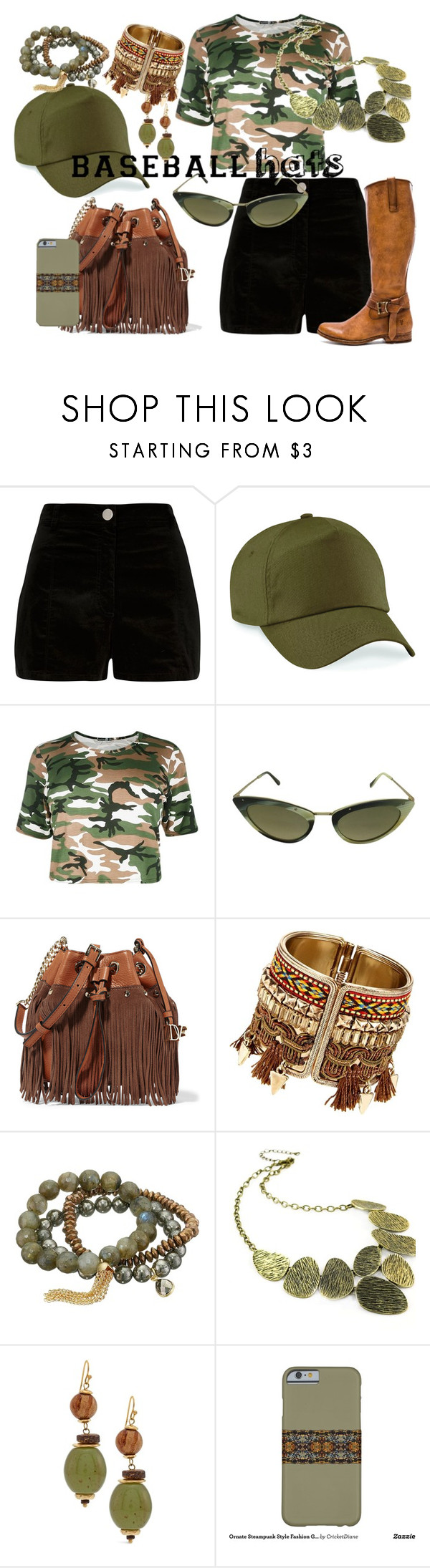 """""""Forest Inspired Outfit for Summer with Olive Green Ballcap"""" by cricketdiane ❤ liked on Polyvore featuring River Island, Tom Ford, Diane Von Furstenberg, Dee Berkley, Emi Jewellery, Chico's and Frye"""