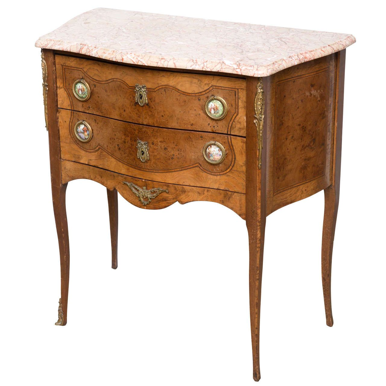 French Commode Side End Table with Porcelain Plaques 20th Century
