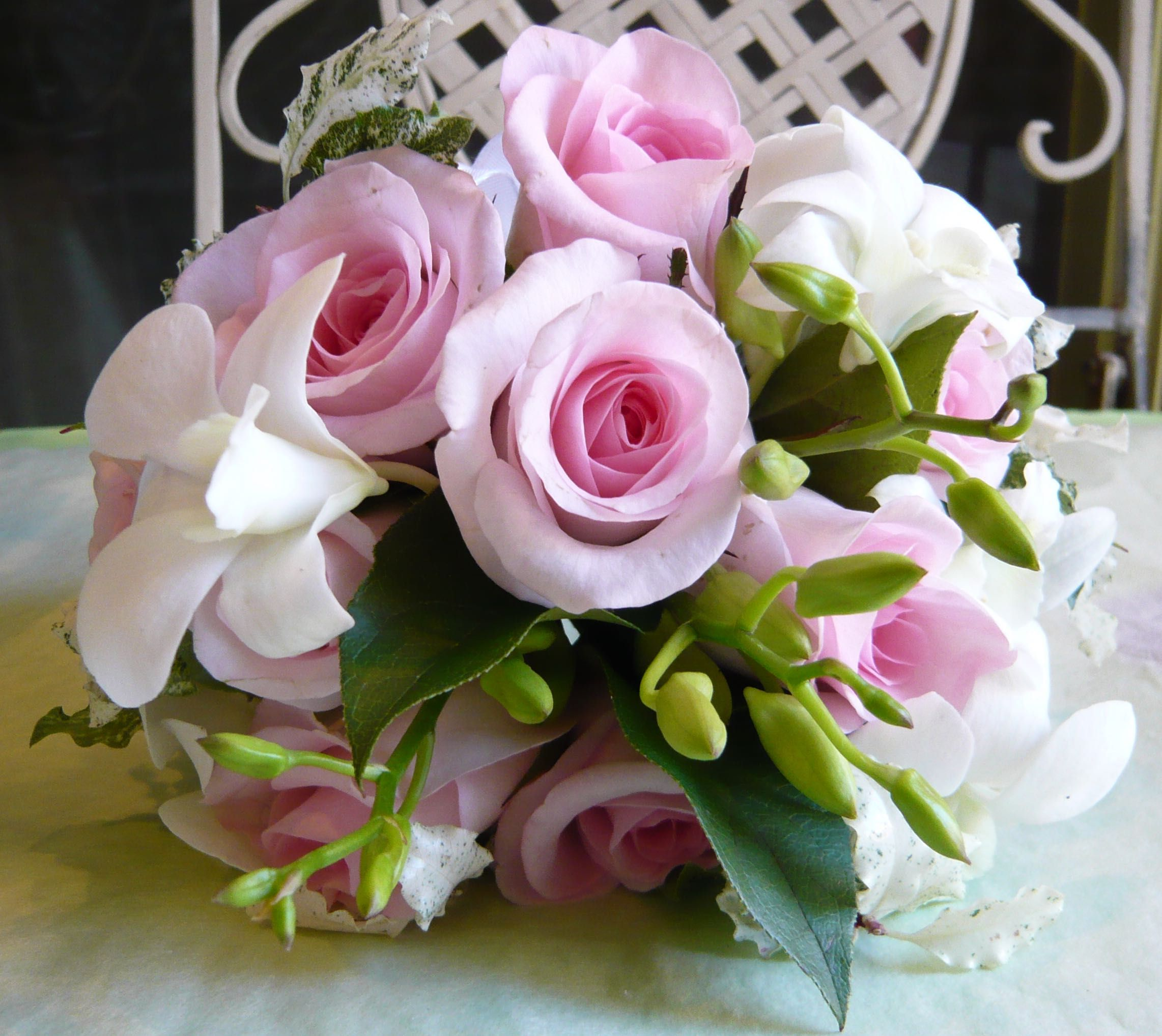 Bridesmaids Posy In Pale Pink Roses And Singapore Orchids By