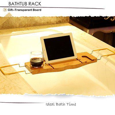 Adjustable Bathtub Rack Bath Caddy Extension Wine Ipad Phone Books ...