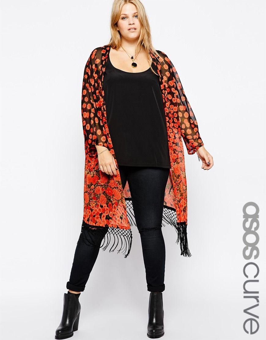 ASOS CURVE at Asos Poppy Kimono With Fringing