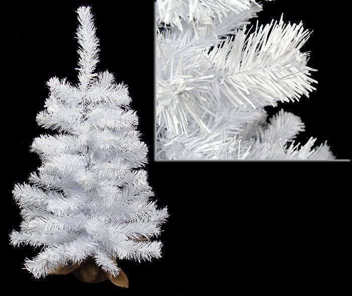 2' White Canadian Pine Artificial Christmas Tree in Burlap Sack ...