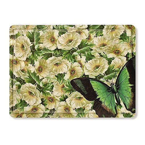 Rainy Dog Flower Butterfly Hard Fiberboard Cork Board Placemats Set Of 4 11x15 Dog Flower Placemats Cork Board