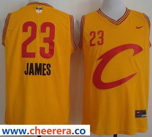 81e97405b0d34b Nike C Cavaliers #23 LeBron James Gold The Finals Patch NBA Swingman Jersey