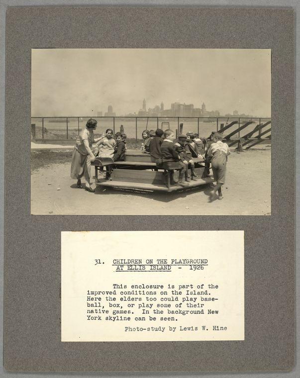 Unit I, Immigration. (1), Ellis Island, scenes ...Children on the playground at Ellis Island, 1926