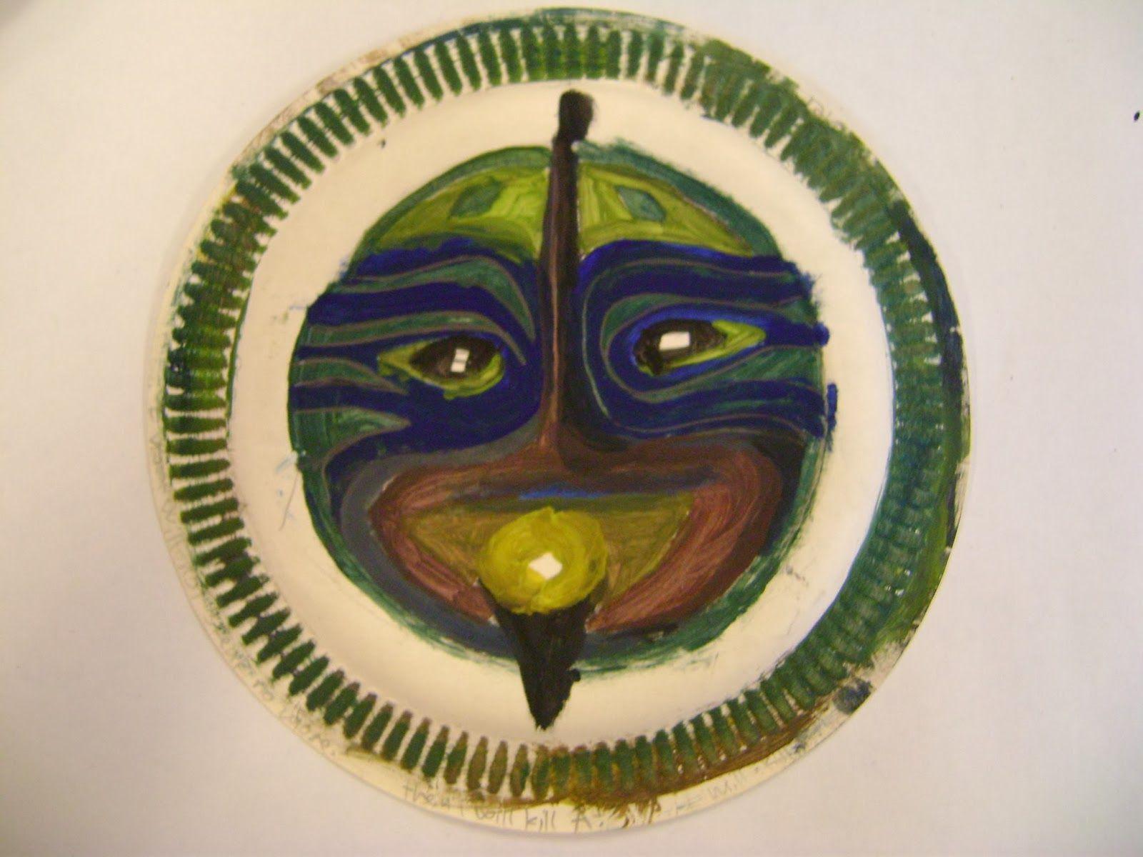 Adinkra masks in art class