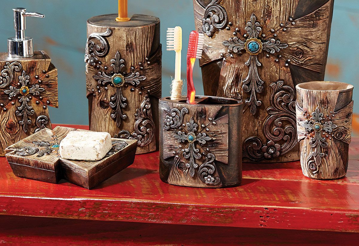 Get A New Look Of Bathroom With Elegant Bathroom Decor Sets Darbylanefurniture Com In 2020 Rustic Bathroom Decor Rustic Bathroom Accessories Bathroom Decor Sets