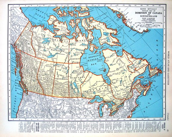 Map Of Canada And Map Of Prince Edward Island 1936 Vintage Map