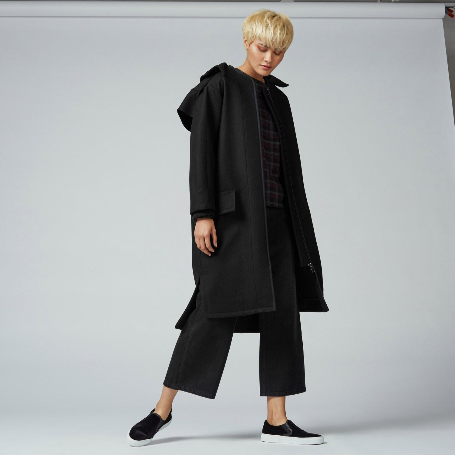Warehouse, Oversized Hooded Coat Black 2 | Winter fashion ...