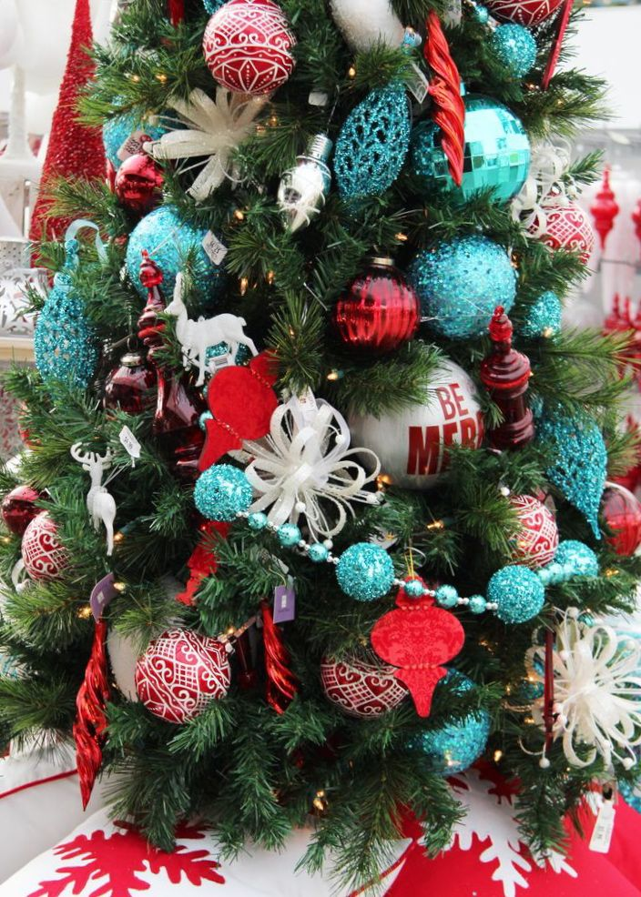 christmas in aqua blue and red